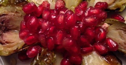 Sweet Roasted Brussel Sprouts and Pomegranate Seeds